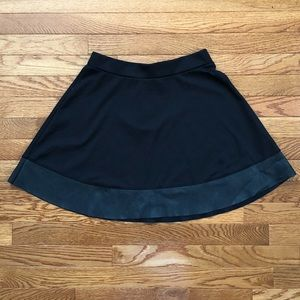 UO Fo-Leather Trimmed Fit and Flare Skirt